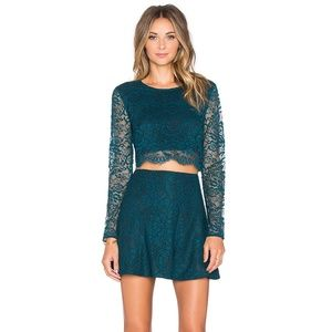 Lovers + Friends Teal Lace Long Sleeve Crop Top